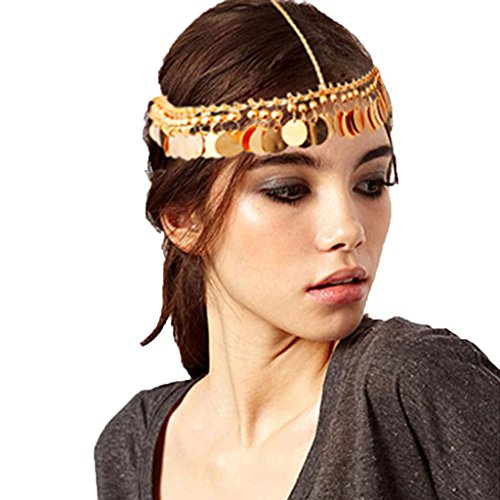 Usstore 1PC Women lady Headwear Tassels Head Chain Jewelry Chain Headband Head shiny Piece Hair Band