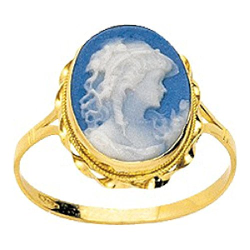 So Chic Jewels - Ladies 18k Yellow Gold Twisted Frame Blue Porcelain Cameo Ring - Size 12.5