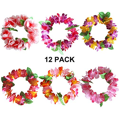 (Hawaiian Leis Luau Tropical Headband Flower Crown Wreath Headpiece Wristbands Women Girls Floral Necklace Bracelets Hair Band For Summer Beach Vacation Pool Party Decorations Favors Supplies 12 Pack)