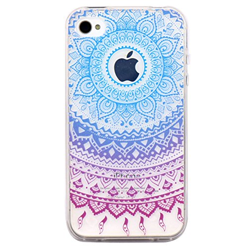 iPhone 4 Case, JAHOLAN Flower Clear Edge TPU Soft Case Rubber Silicone Skin Cover for iPhone 4 4s - Blue Purple Tribal Mandala