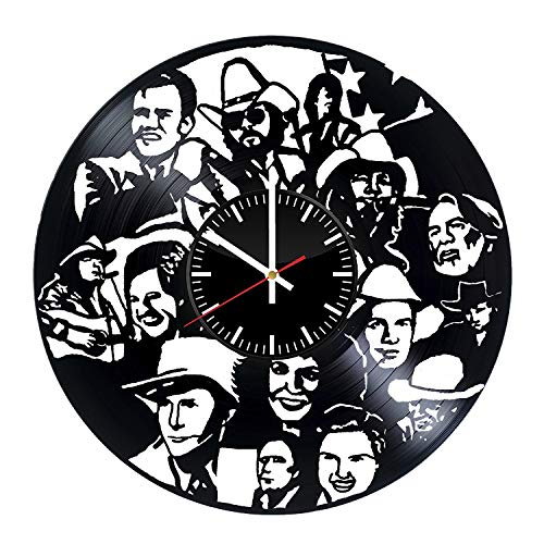 Country Singers Vinyl Clock - Country Singers Vinyl Records Wall Art Room Decor Handmade Decoration Party Supplies Theme - Best Original Present Gift Idea - Vintage and Modern Style ()