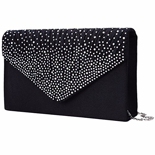 YiZYiF Ladies Bag Party Black Women Envelope for Clutch Evening Rhinestone Satin Prom rwqrvR5Y