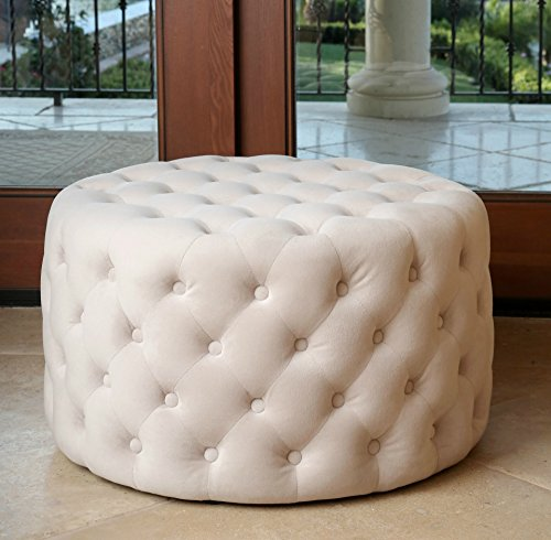 Velvet Button Stool (Round Cocktail Ottoman Velvet Fabric Deep Button Tufted Soft Foot Stool Ivory)