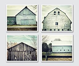 Aqua Barn Print Print Set of 4 Photographs - 20% Discount - Set of Barn Pictures, Teal Barn Art, Rustic Country Decor, Farmhouse Decor in Teal Aqua Green Grey Brown.