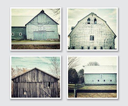 Rustic Farmhouse Decor Set of 4 Barn Prints, Fixer Upper Home Decor Wall Art in Aqua Teal Turquoise Blue
