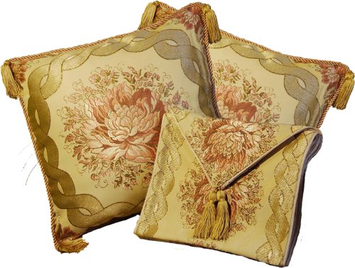 Aubusson Style 2 Cushion/pillow Cover 18'' + Table Runner 60''x12'' Embroidered with Intricate Golden Threads 09A by Decor Plus