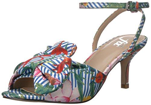 Satin Sandals Bow (The Fix Women's Jackelyn Kitten Heel Bow Sandal Heeled, Floral Stripe Print Satin, 7.5 B US)