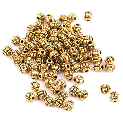 Dovewill 100pcs Wholesale Antique Gold Pumpkin Design Spacer Loose Beads 4mm Findings Necklace Bracelet Jewelry Crafts
