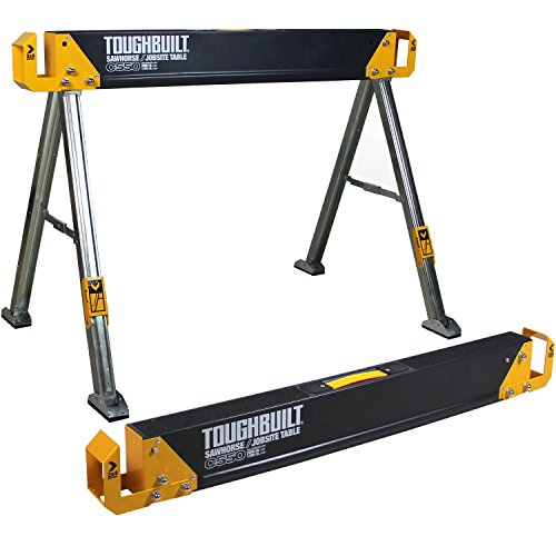 Folding Sawhorse (ToughBuilt - Folding Sawhorse / Jobsite Table - Sturdy, Durable, Lightweight, Heavy-Duty, 100% High Grade Steel, 41.5-Inch, Easy Carry Handle (TB-C550))