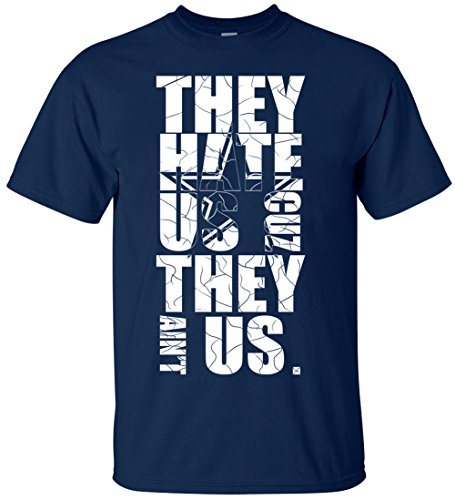 NZone Dallas 'They Hate Us' Men's T Shirt (2XL, Navy Blue)