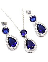 Silver White Gold GP Multi-color Crystal Teardrop Necklace Earrings fashion jewelry sets Valentines Day Gifts