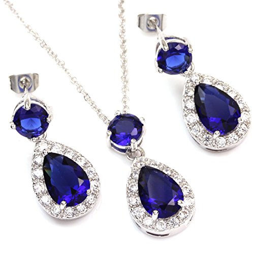FC White Gold GP Blue Silver color CZ Teardrop Bridal Wedding Necklace Earrings Jewelry Set