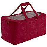 Christmas Accessories Bag. Best After Holiday Season Decoration Removal Heavy Duty Storage Container To Cover Lights Or Ornaments Keeper, Fiber Optic. Red, Handheld Duffel.