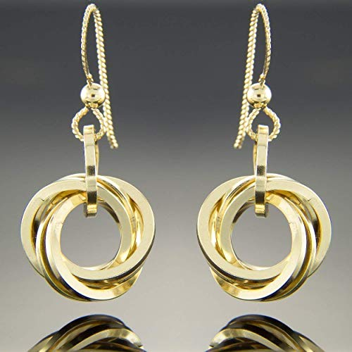 (Square Knot Dangle Earrings in 14K Yellow Gold Fill with Slipless)