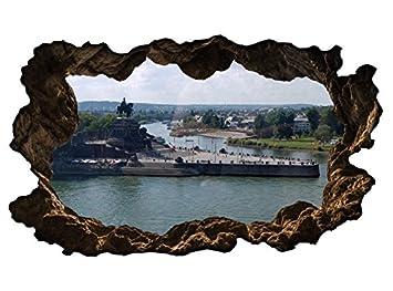 3D Wandtattoo Koblenz Deutsches Eck Skyline Stadt Wandbild ...