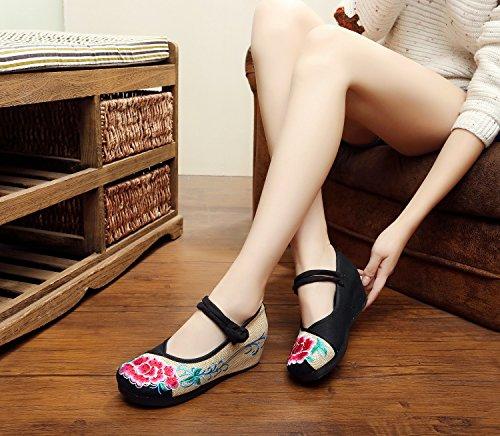 WXT Zapatos bordados, lino, lenguado, estilo étnico, zapatos femeninos, moda, cómodo, pendiente Aumentado Black