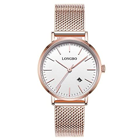 LONGBO Simple Couple Watches Stainless Steel Band Analog Display Quartz Women Watch Rose Gold Ultra Thin Dial Business Wristwatch Date Waterproof (Watch With Date)