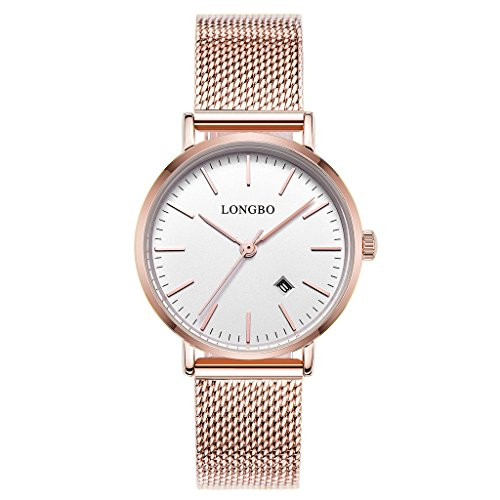 LONGBO Simple Couple Watches Stainless Steel Band Analog Display Quartz Women Watch Rose Gold Ultra Thin Dial Business Wristwatch Date Waterproof (Rose Gold Steel Watch)