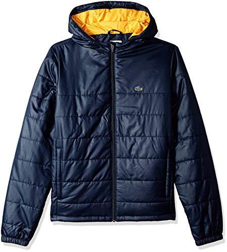 - Lacoste Big Boy Sport Hooded Taffeta Tracksuit Jacket, Navy Blue/Pomelo, 8