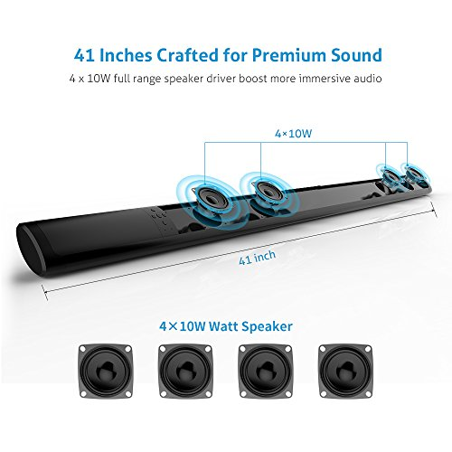 Sound bar, Meidong Soundbar with Bluetooth Wireless & Wired 2.0 Channel Home Theater Speaker Surround Sound bars for TV /43inch/Optical/RCA/AUX/Remote Control(Update version)