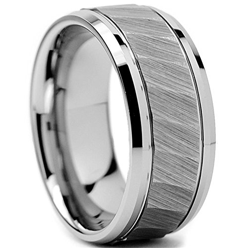 King Will HAMMER 8mm Mens Tungsten Carbide Ring Hammered Brushed Finish Beveled Edge Wedding Band Comfort Fit(9)