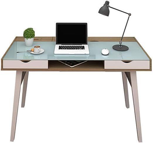 ZGYQGOO Mesa Escritorio Simple de Vidrio Templado para el hogar ...