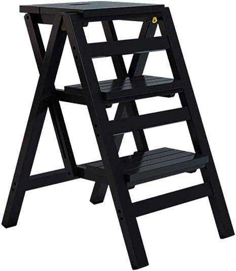 KEKET1 Escalera De 3 Escalones Taburete Peldaño De Cocina Plegable con Escalera Antideslizante,Black: Amazon.es: Hogar