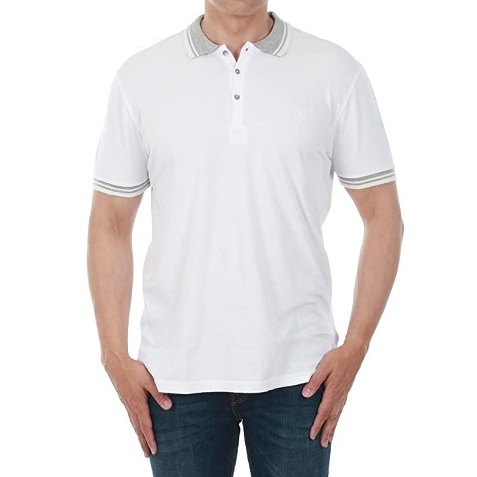 GUESS Polo Hombre XL Blanco U82I05JR02F-A009: Amazon.es: Ropa y ...