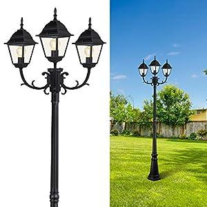 CINOTON Outdoor Lamp Post Light Surface-Mount, Waterproof Outdoor Street Light with Triple-Head, Landscape Post Lighting…