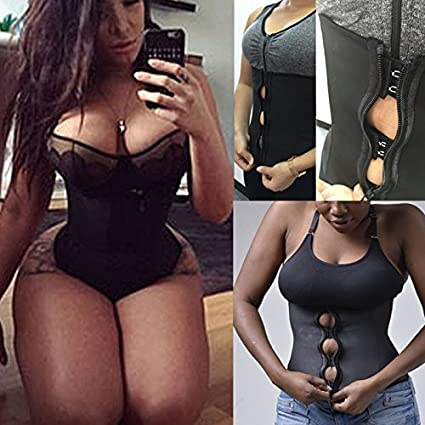 83df1d7bb2 Image Unavailable. Image not available for. Color  WYHUI Women Zipper And Hooks  Combo Rubber Latex Waist Trainer Sexy ...