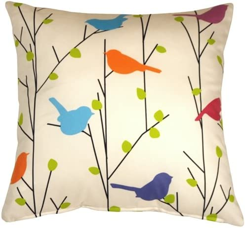 PILLOW D COR Spring Birds 17×17 Decorative Pillow