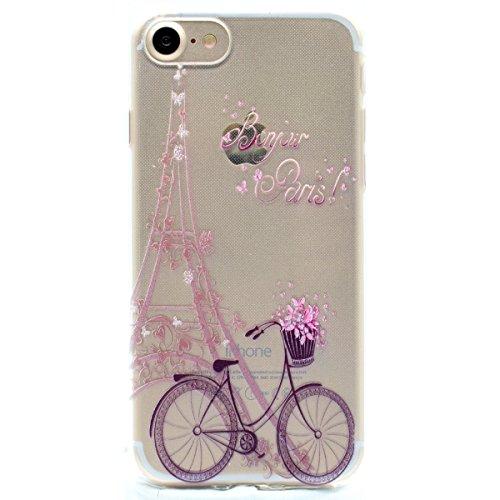 iPhone 7 Hülle, Moonmini® Ultra Dünn Soft Flexible Handyhülle TPU Silikon Schutzhülle Cover für iPhone 7 Eiffelturm