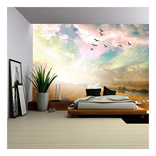 144 Big Bird - wall26 - Green Field of Grass and Flying Birds - Removable Wall Mural | Self-Adhesive Large Wallpaper - 100x144 inches