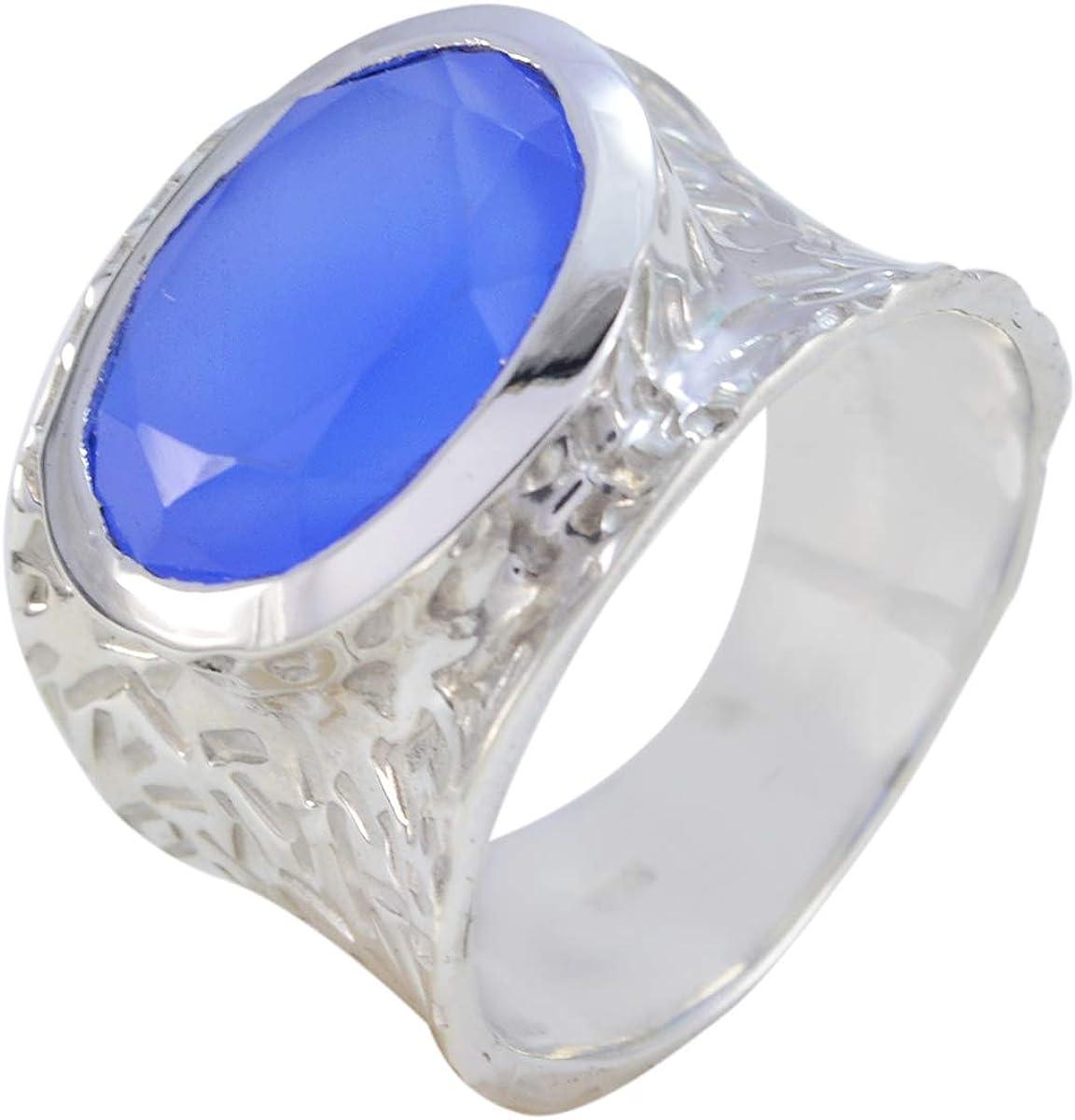 joyas plata buenas piedras preciosas forma ovalada una piedra anillos de calcedonia azul facetados - anillo de calcedonia azul de plata esterlina - nacimiento de diciembre sagitario