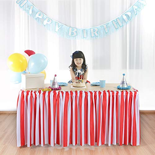Suppromo 6ft Red White Striped Table Skirt For Rectangle Tables or Round Tables Ruffle Table Skirt For Baby Show, Birthday Party, Wedding, Banquet, Home and Carnival Decoration(L 6(ft) H 31in)