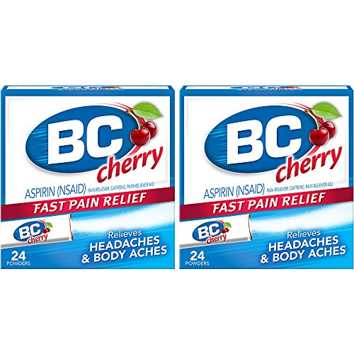 BC Aspirin Fast Pain Relief Powder | Relieves Headaches and Body Aches | Cherry Flavored | Pack of 2 | 24 Powders