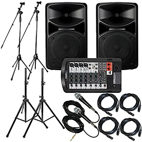 Yamaha Package Bundle: Yamaha STAGEPAS 400I Portable PA System + 2x Speaker Stand + Yamaha MG06 6-Channel Mixer + 2 Emic800 Microphone With Wires + 2 Microphone Stand + 2 XLR Xlarge - Pa System Package
