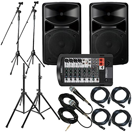 Yamaha Package Bundle: Yamaha STAGEPAS 400I Portable PA System + 2x Speaker Stand + Yamaha MG06 6-Channel Mixer + 2 Emic800 Microphone With Wires + 2 Microphone Stand + 2 XLR Xlarge Cables