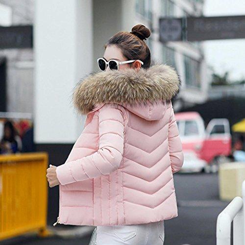 Moda Rosado Grueso Abrigo Invierno Sólida Internet Casual Mujer IH4Yqww