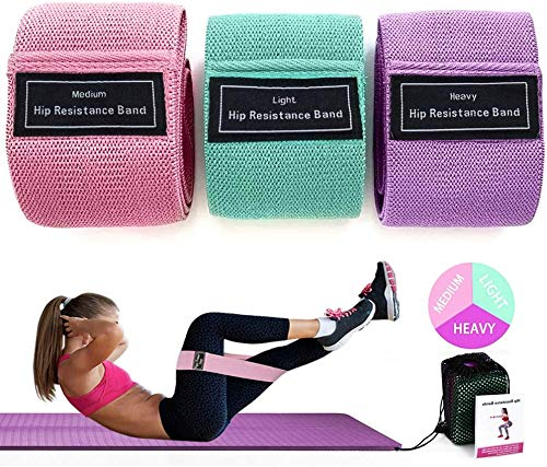 SUNVITO Resistance Bands Set, Exercise Booty Bands for Legs and Butt,Non Slip Elastic Hip Bands Wide Workout Bands for Women Yoga Pilates Glute Home Fitness (3 Pack)