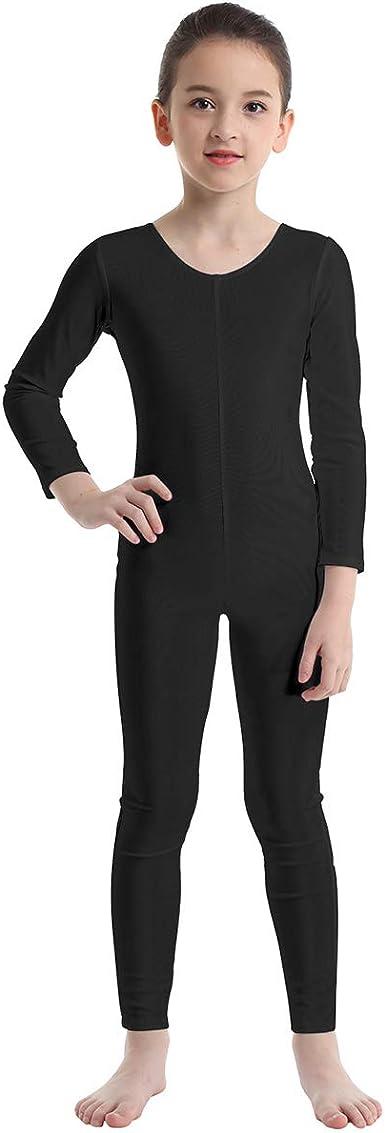inlzdz Kids Girls Long Sleeve Dance Gymnastics Leotard Unitard Full Length Bodysuit Jumpsuit Sports Dancewear Outfit