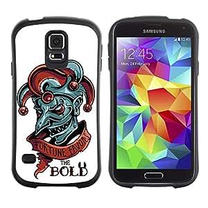 LASTONE PHONE CASE / Suave Silicona Caso Carcasa de Caucho Funda para Samsung Galaxy S5 SM-G900 / Fortune Favors The Bold - Evil Joker