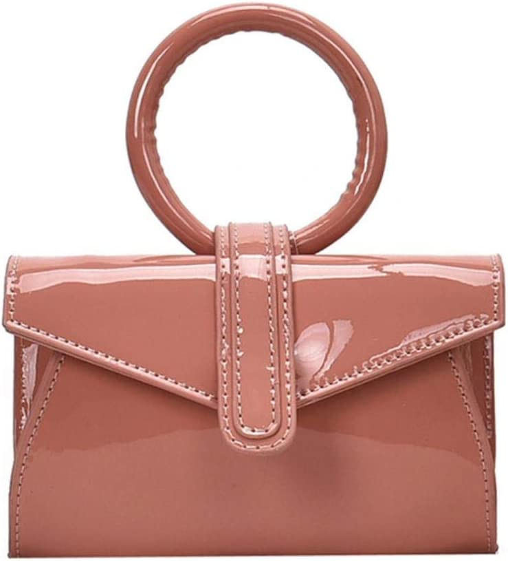 ABO Mini bolso de hombro femenino de piel brillante PU impermeable bolsa de mensajero niña temperamento salvaje bolsa pequeña cuadrada rojo vino Rosa