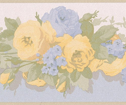 Yellow Blue Bloomed Roses Floral Wallpaper Border Retro Design, Roll 15' x 5'' (Floral Wallpaper Rose)