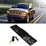Glumes License Plate Rear View Reversing Backup Camera - Universal 170°Perfect Wide View Angle Design 4 LED Lights Night Vision 1/4 inch Color CMOS Waterproof (Black)
