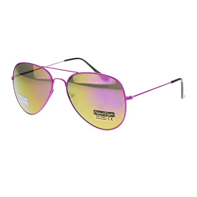 Amazon.com: Thin Marco de metal Aviator anteojos de sol ...