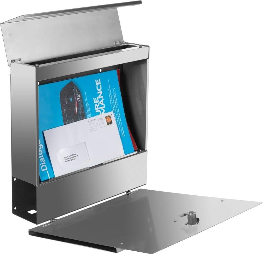 Zeitungsfach /& Namensgravur super Regenschutz Frabox/® Edelstahl Design Briefkasten LEVARA