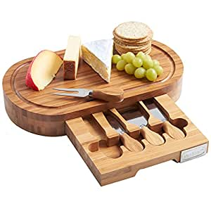 5 Piece Bamboo Cheese Board and Knife Set