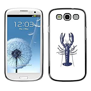 Design for Girls Plastic Cover Case FOR Samsung Galaxy S3 Lobster Ink Tattoo White Blue Art OBBA