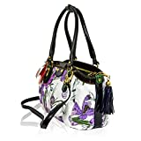 Marino Orlandi Italian Designer Violet Flowers Embossed Leather Crossbody Bag